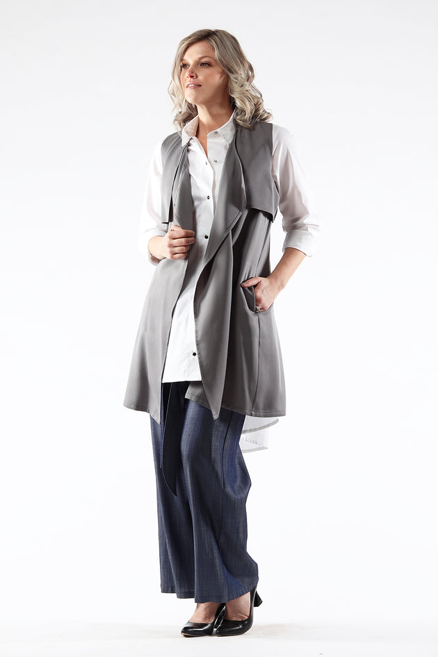 Shelley Vest - grey tencel - front view - Lennard Taylor