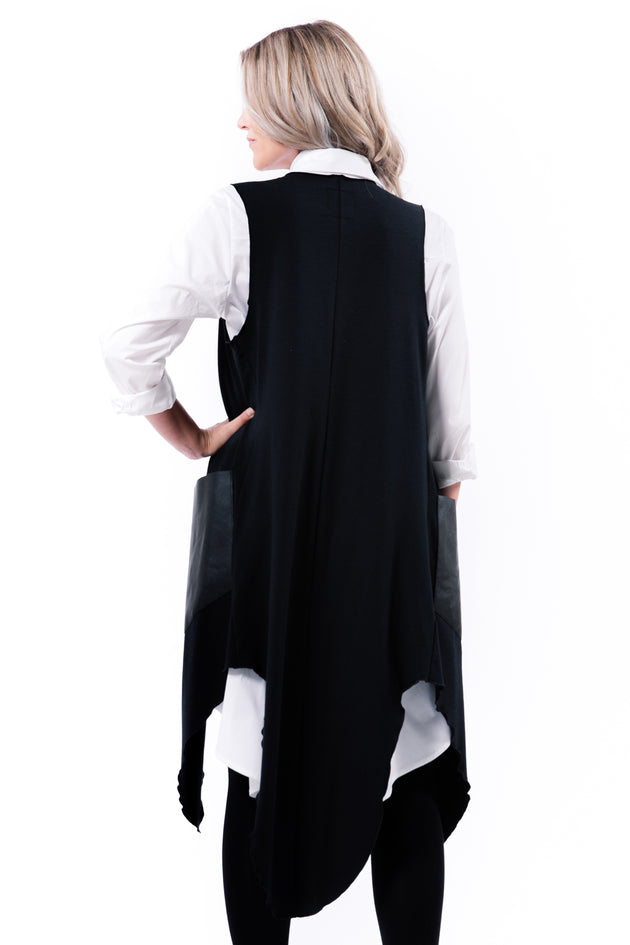 Sophie Vest - Black - back View on Model - Lennard Taylor