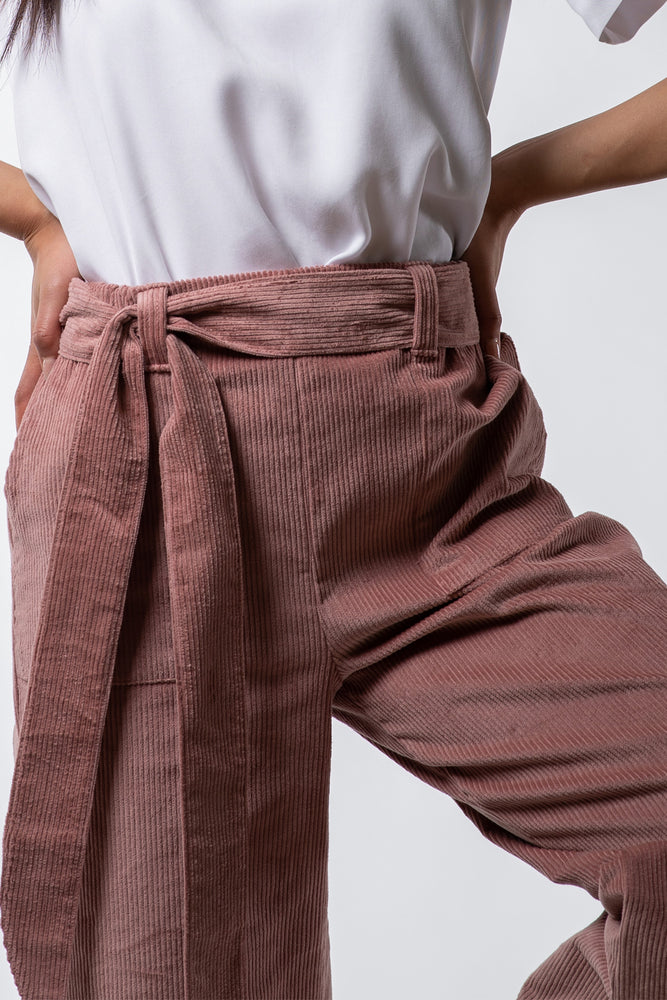 Victoria Pant - Blush Corduroy - close up on model - Lennard Taylor