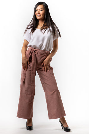 Victoria Pant - Blush Corduroy - front view on model - Lennard Taylor