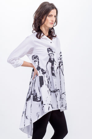 white Brenda swing shirt - hand painted in black - Lennard Taylor Original