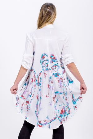 white Brenda swing shirt - hand painted in colour - Lennard Taylor Original