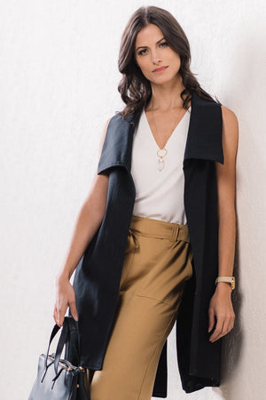 vest with high collar - MELVA - Black cotton twill - Lennard Taylor