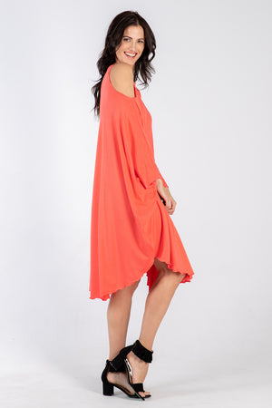 coral Sigra dress - side - Lennard Taylor