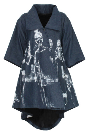 denim Jojo coat - hand painted in white - Lennard Taylor Original