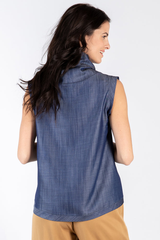 KRYST Tank - Indigo Tencel - back view on model - Lennard Taylor