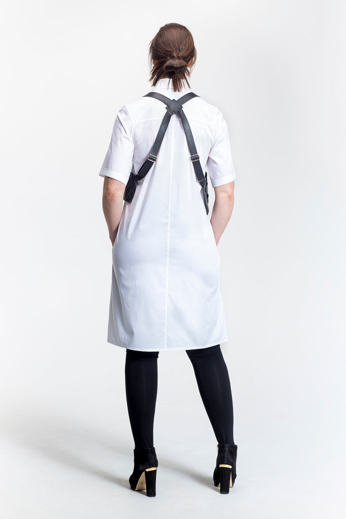 Short Sleeve A-line Shirt Dress - LORELEI