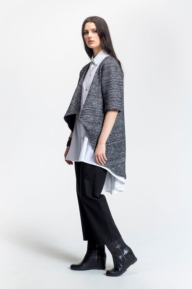 "Grey-Draped Open Front Jacket-""Marilou""-Wool-side view-Lennard Taylor"