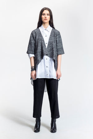 "Grey-Draped Open Front Jacket-""Marilou""-Wool-front view-Lennard Taylor"