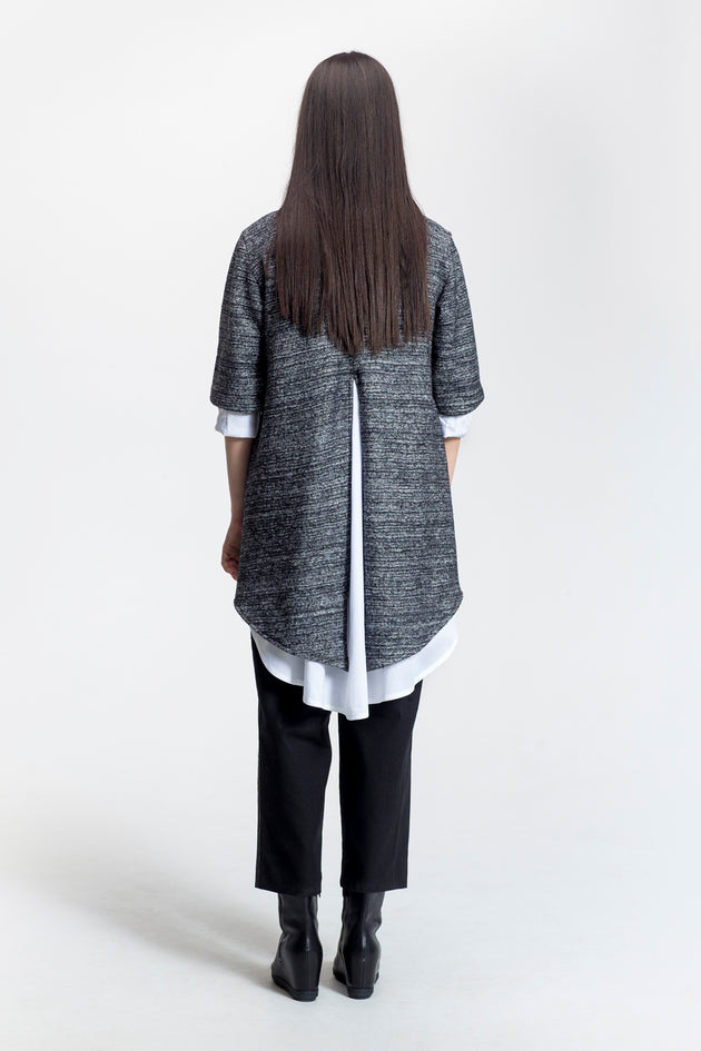 "Grey-Draped Open Front Jacket-""Marilou""-Wool-back view-Lennard Taylor"