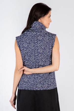 navy splatter dot Kryst top - back - Lennard Taylor