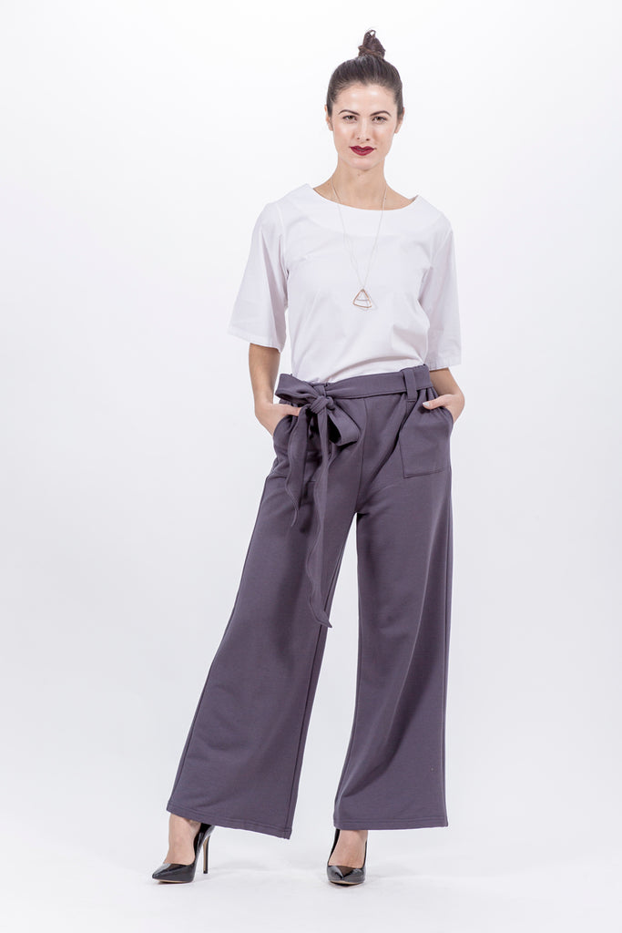 8f17d964f43 Belted Palazzo Pant - VICTORIA - Grey Bamboo Cotton Blend – Lennard Taylor  Design Studio