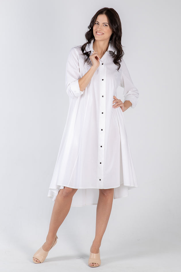 white Beatrix dress- front - Lennard Taylor