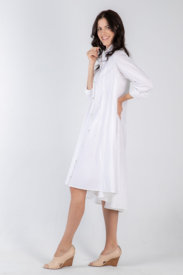 white Beatrix dress- side - Lennard Taylor