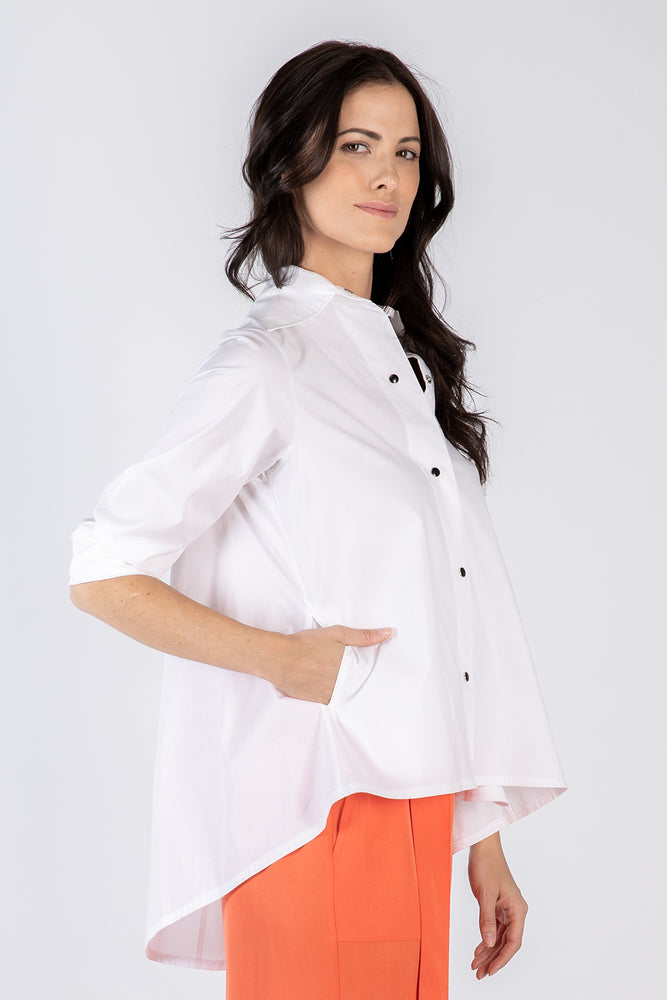 white Lizzie shirt - side - Lennard Taylor