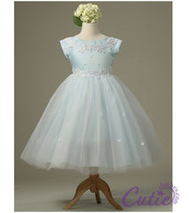 Blue Flower Girl Dress - 1102