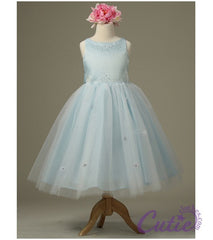 Blue Flower Girl Dress - 1110