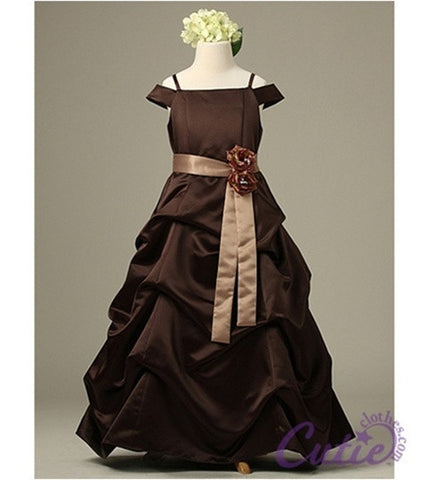 Brown Flower Girl Dress - 1147
