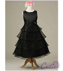 Black Flower Girls Dress - 1152