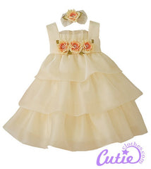 Banana Organza Baby Dress -0B777