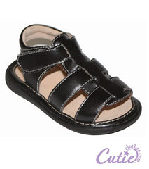 Black Baby Sandals - Connor