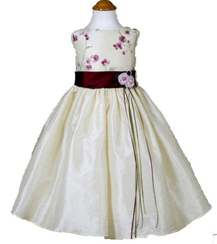Burgundy Flower Girls Dress - 0226