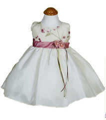Ivory/Rosepink Girls Dress - 0228