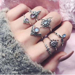 7pcs/Set Women Bohemian Vintage Silver Stack Rings
