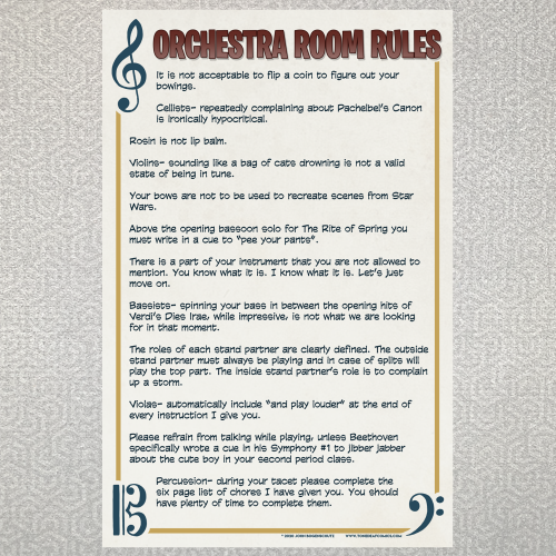 Orchestra Room Rules
