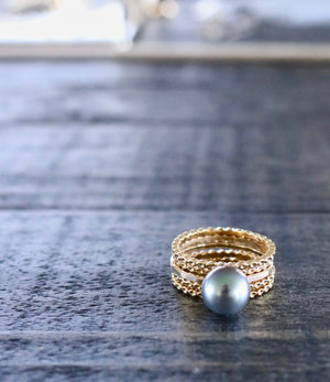 Tiare Tahitian Pearl Ring stack, Designed by Keani Hawaii