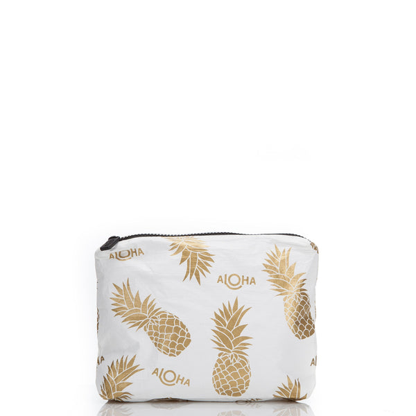 Pineapple Fields Pouch / White & Gold