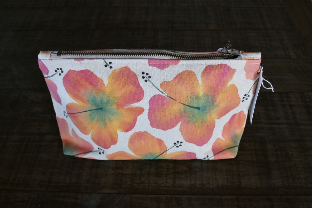 Hand Painted Hibiscus Gusseted Pouch -- Keani Hawaii