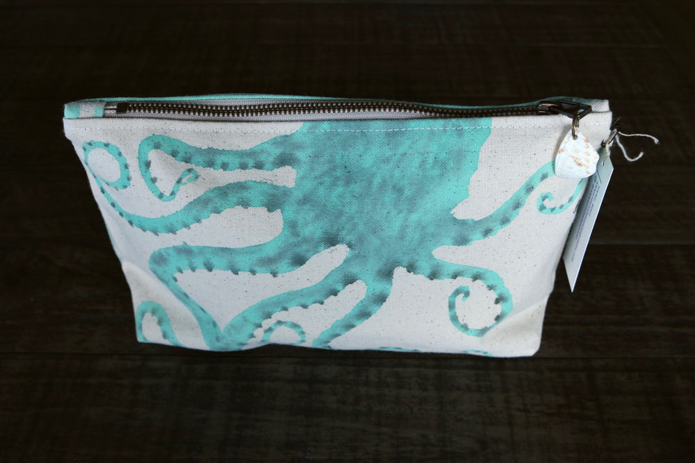 Hand Painted He'e Octopus Gusseted Pouch -- Keani Hawaii