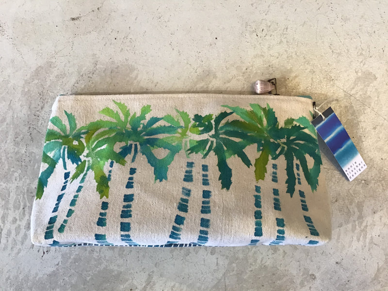 Hand-Painted Palms Gusseted Pouch