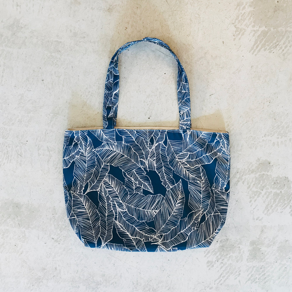 Banana Leaf Tote Bag / Navy Blue