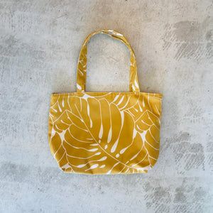 Monstera Leaf Tote Bag / Mustard
