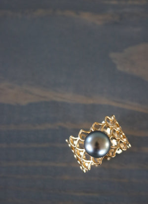 Mermesh Mermaid Ring with Tahitian Pearl, Keani Jewelry