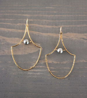 Mermaid Scale Hoop Earrings with Tahitian Pearls, Keani Jewelry