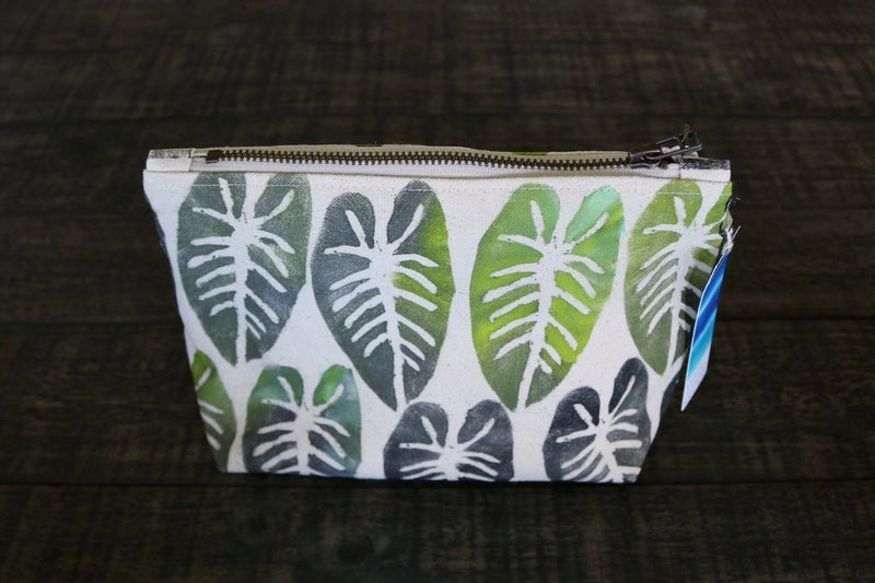 Hand Painted Kalo Gusseted Pouch -- Keani Hawaii