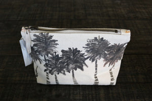 Hand Painted Palm tree gusseted pouch -- Keani Hawaii