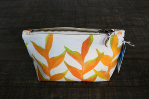 Hand Painted Heliconia Gusseted Pouch -- Keani Hawaii