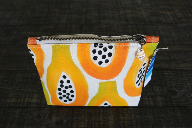 Hand Painted Papaya Gusseted Pouch -- Keani Hawaii