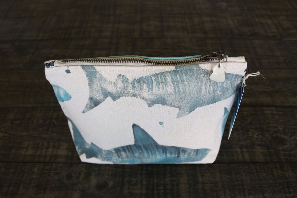 Hand-Painted Shark Gusseted Pouch