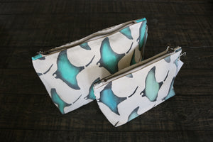 Hand-Painted Manta Ray Gusseted Pouch