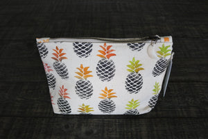 Hand Painted Pineapple Gusseted Pouch -- Keani Hawaii