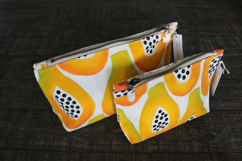 Hand-Painted Papaya Gusseted Pouch