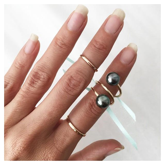 Manihi Tahitian Pearl Wrap Ring, Designed by Keani Hawaii on Maui