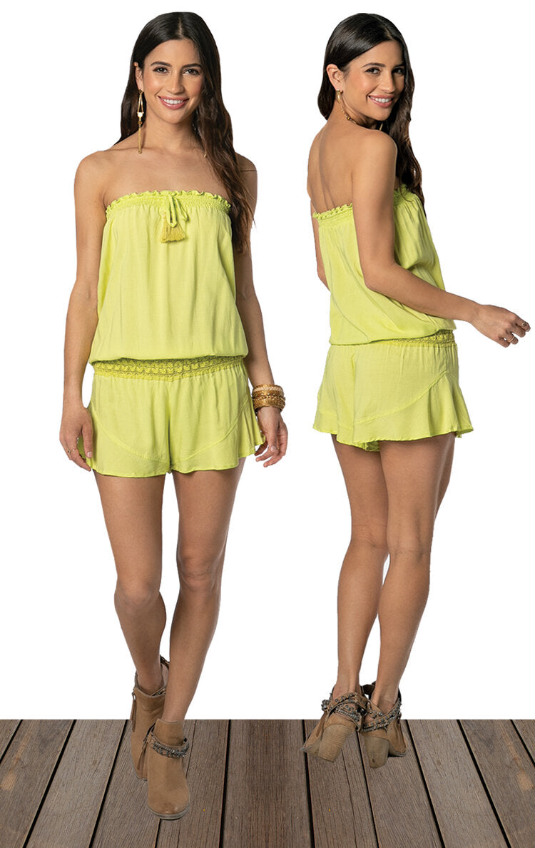 Channel Romper / Lime