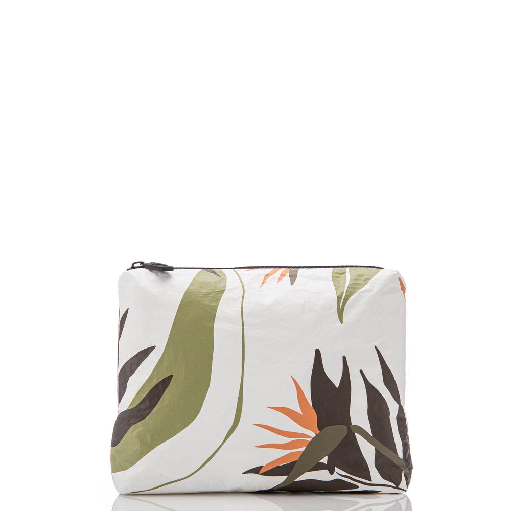 Small Painted Birds Pouch Neutrals / White