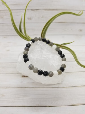 Black Tourmaline, Labradorite & Moonstone Stacker Bracelet with Silver Accents